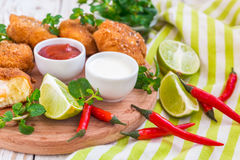 Spanish croquetas croquettes with shrimp, mint and chilly Royalty Free Stock Images