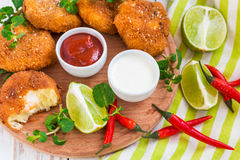 Spanish croquetas croquettes with shrimp, mint and chilly Stock Photos