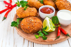 Spanish croquetas croquettes with shrimp, mint and chilly Stock Image