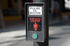 Spanish crosswalk button Stock Photography