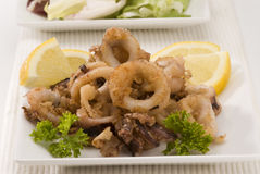 Spanish cuisine. Andalusian deep-fried squids. Royalty Free Stock Photography