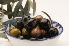 Spanish cuisine. Assorted olives. Royalty Free Stock Photography