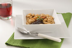 Spanish Cuisine. Asturian ham and beans. Stock Images
