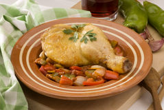 Spanish cuisine. Chicken with peppers. Royalty Free Stock Photography