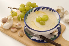 Spanish cuisine. Chilled garlic soup. Royalty Free Stock Photo