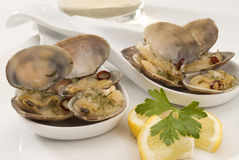 Spanish Cuisine. Clams fisherman's style. Stock Images