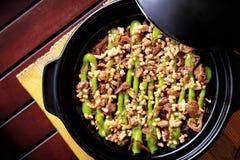 Spanish cuisine claypot mushroom rice Royalty Free Stock Images
