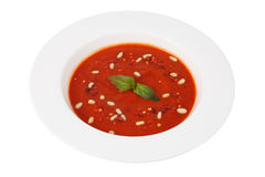 Spanish cuisine, cool red tomato soup with white beans, isolated Stock Image