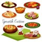 Spanish cuisine dinner menu cartoon icon design Stock Photography