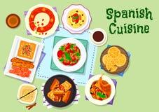 Spanish cuisine dinner menu with dessert icon Royalty Free Stock Image