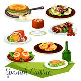 Spanish cuisine icon design with meat and seafood Stock Image