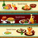 Spanish cuisine dinner restaurant banner set Stock Photo