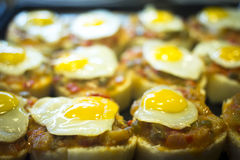 Spanish cuisine egg tapas dishes in restaurant Stock Image