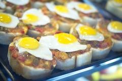 Spanish cuisine egg tapas dishes in restaurant Stock Image