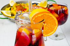 Spanish Cuisine. Fresh sangria and paella. Stock Photo