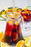 Spanish Cuisine. Fresh sangria and paella. Royalty Free Stock Images