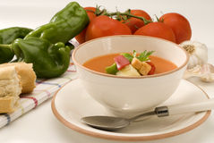 Spanish Cuisine. Gazpacho. Andalusian cold soup. Royalty Free Stock Photos