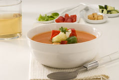 Spanish Cuisine. Gazpacho. Andalusian cold soup. Royalty Free Stock Image
