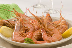 Spanish cuisine. Grilled shrimps. Stock Images