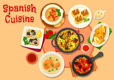 Spanish cuisine healthy dinner dishes icon. With seafood paella, fish tapas escabeche, olive stew with sausage, tomato vegetable soup gazpacho, potato tortilla Royalty Free Stock Photo