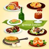 Spanish cuisine lunch with dessert cartoon icon Royalty Free Stock Photos