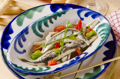 Spanish Cuisine. Marinated fresh anchovies. Boquerones. Stock Image