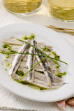 Spanish Cuisine. Marinated fresh anchovies. Boquerones. Stock Photo