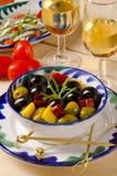 Spanish Cuisine. Marinated olives. stock photo