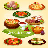 Spanish cuisine meat and fish dishes cartoon icon. Spanish cuisine meat and fish dishes for dinner menu cartoon icon. Rice with gammon, sausage and ham, seafood Royalty Free Stock Photography