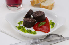 Spanish Cuisine. Morcilla de Burgos. Black Pudding. Royalty Free Stock Photo