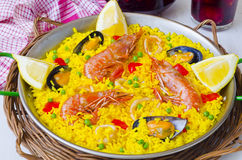 Spanish Cuisine. Paella and fresh sangria. Royalty Free Stock Image