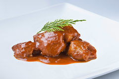Spanish cuisine pork feet with sauce odd but delicious Stock Image