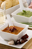 Spanish cuisine. Red and green mojo sauce. Stock Images