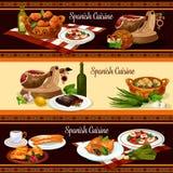 Spanish cuisine restaurant menu banner set design Royalty Free Stock Photography