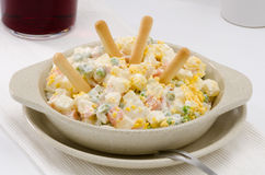 Spanish Cuisine. Russian salad. Ensaladilla rusa. Stock Photo