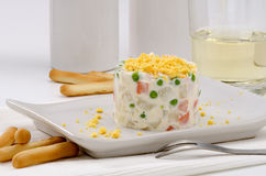 Spanish Cuisine. Russian salad. Ensaladilla rusa. Spanish Tapas. Russian salad in a white plate. Ensaladilla rusa. Selective focus Stock Photos