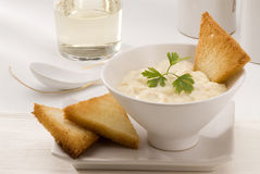 Spanish Cuisine. Salt cod with mashed potatoes. Royalty Free Stock Photo