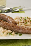 Spanish cuisine. Sausage with beans, Cat Stock Photography