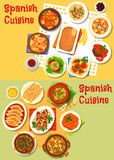 Spanish cuisine seafood and meat dishes icon set Royalty Free Stock Photography
