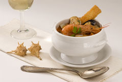 Spanish cuisine. Seafood soup. Stock Photo