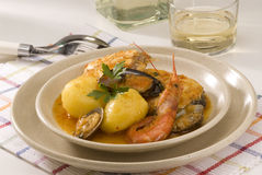 Spanish cuisine. Seafood stew, Costa Brava style. Royalty Free Stock Photo