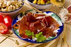 Spanish Cuisine. Serrano Ham. Jamon Serrano. Royalty Free Stock Image