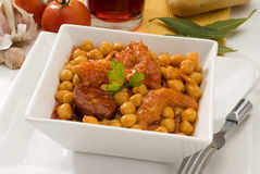 Spanish cuisine. Stewed tripe and chickpeas. Royalty Free Stock Image
