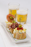 Spanish Cuisine. Tapas. Tray of montaditos. Royalty Free Stock Photo