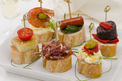 Spanish Cuisine. Tapas. Tray of montaditos. Royalty Free Stock Photo