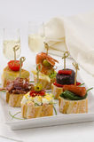 Spanish Cuisine. Tapas. Tray of montaditos. Stock Images