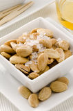 Spanish Cuisine. Toasted almonds in salt Stock Photography
