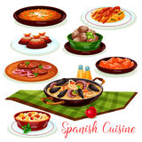Spanish cuisine traditional dinner dishes icon Royalty Free Stock Image