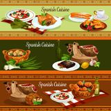 Spanish cuisine traditional food banners. Spanish cuisine restaurant banners set of traditional food. Fish potato stew, iberian ham, vegetable sausage stew Stock Photo