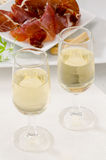 Spanish Cuisine. Two glasses of Sherry Wine. Stock Photo